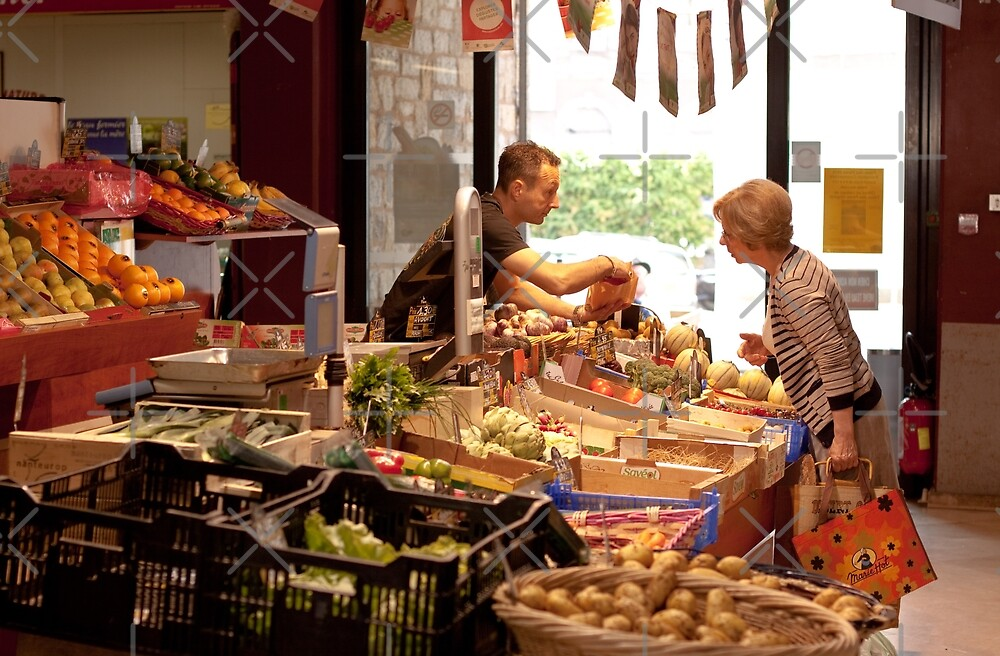 Shopping for Vegetables at the Covered Market in Vannes France by Buckwhite