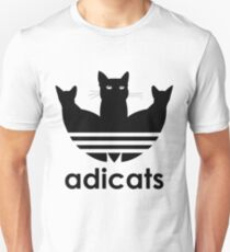 Adicats Original Logo Cute Cats Kitten For Cat Lovers Black Funny AdidasLogo with text Unisex T-Shirt