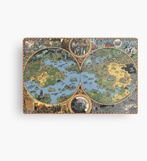 "HP Lovecraft ""Dreamland"" Map High Quality Metal Print"