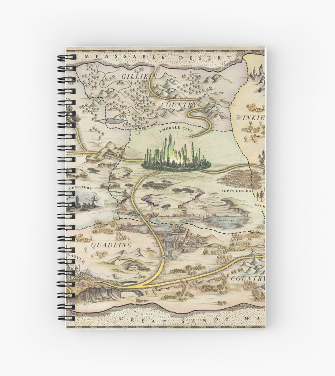 The Wizard Of Oz World Map High Quality Spiral Notebooks By