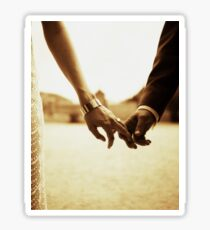Bride and groom holding hands in sepia - analog 35mm black and white film photo Sticker