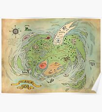 The Land of OOO World Map Adventure Time High Quality Poster