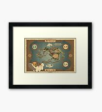 Avatar the Last Airbender Map Books 1-3 High Quality Framed Print