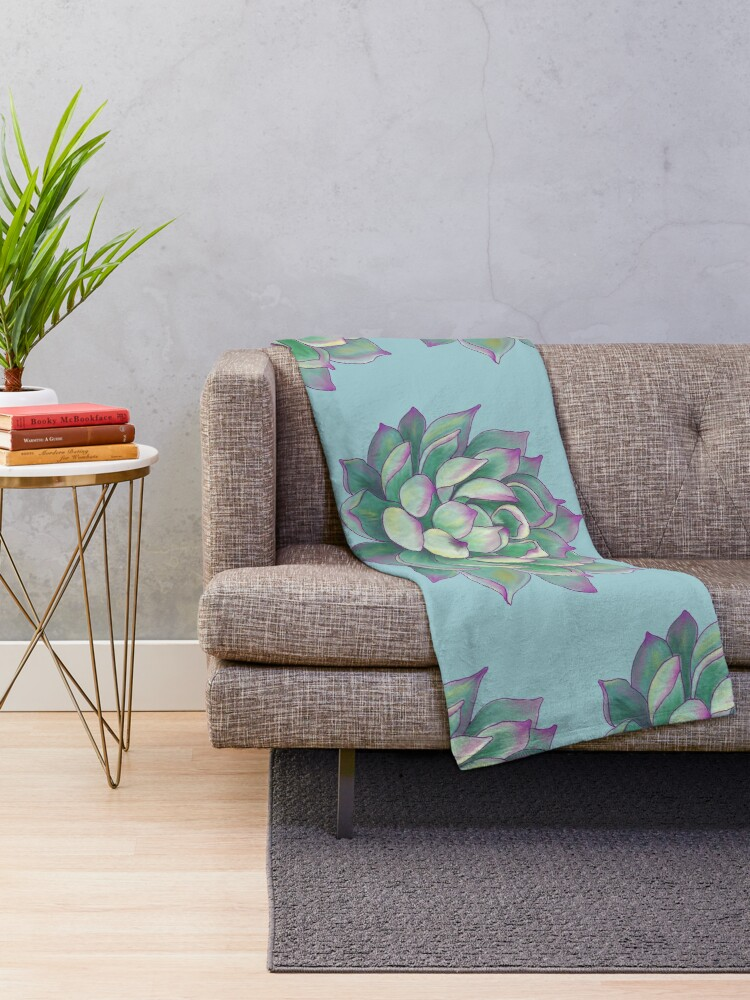 Alternate view of Succulent plant Throw Blanket