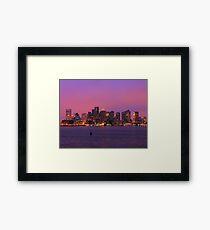 December Evening Boston Skyline Framed Print