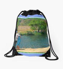 Enjoying a Grand River Drawstring Bag