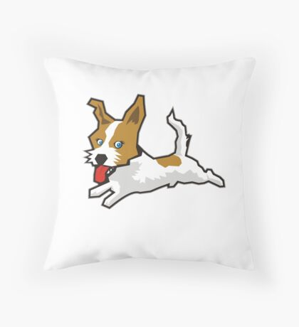 Happy Jack Russell Terrier Throw Pillow