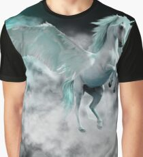 Flight of the Pegasus in Blue Graphic T-Shirt