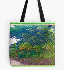 Back Road with Trumpet Flowers Tote Bag