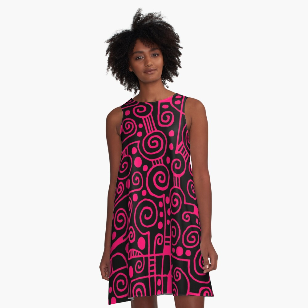 Abstract 040512 - Neon Red A-Line Dress Front