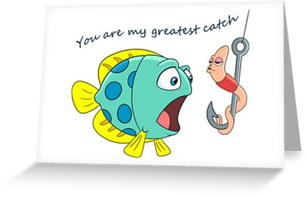 Fish And Worm Kissing Valentines Day Humor Greeting Cards By
