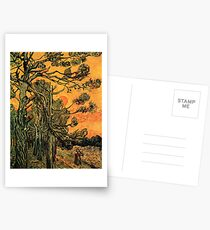 'Pine Trees Against A Red Sky with a Setting Sun' by Vincent Van Gogh (Reproduction) Postcards
