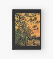 'Pine Trees Against A Red Sky with a Setting Sun' by Vincent Van Gogh (Reproduction) Hardcover Journal