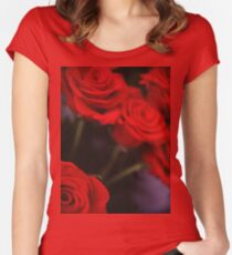 Analog photo of bunch bouquet of red roses Women's Fitted Scoop T-Shirt