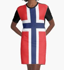 Norway Flag Graphic T-Shirt Dress