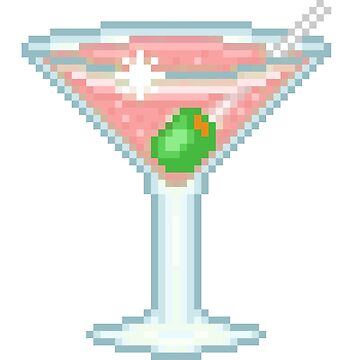 Pixel Pink Martini Glass by NicholiCosplay