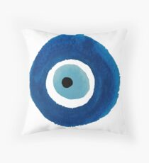 Watercolor Evil Eye (Nazar) Painting Throw Pillow