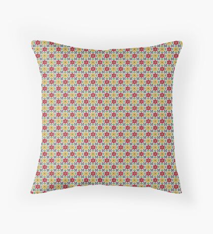 Red and Yellow Flowers Retro Pattern Throw Pillow