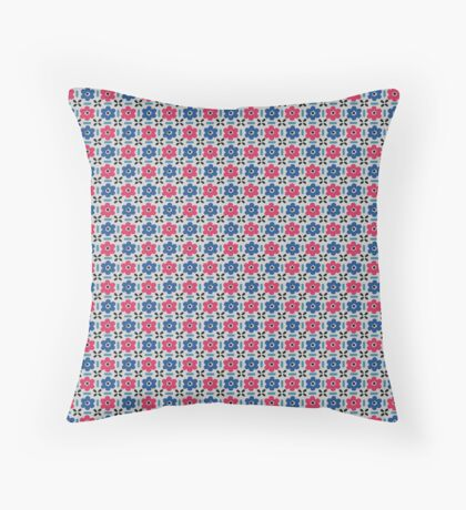 Blue and Hot Pink Flowers Retro Pattern Throw Pillow