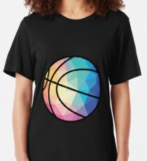 Geometric Basketball Shape Low Poly Basketball Gift Slim Fit T-Shirt
