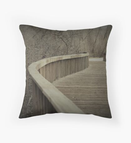 Wooden Bike Trail River Crossing Throw Pillow
