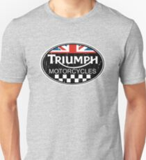 Triumph Motorcycles Union Jack Checker Flag DISTRESSED Unisex T-Shirt