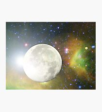 Moon and Galaxy Photographic Print
