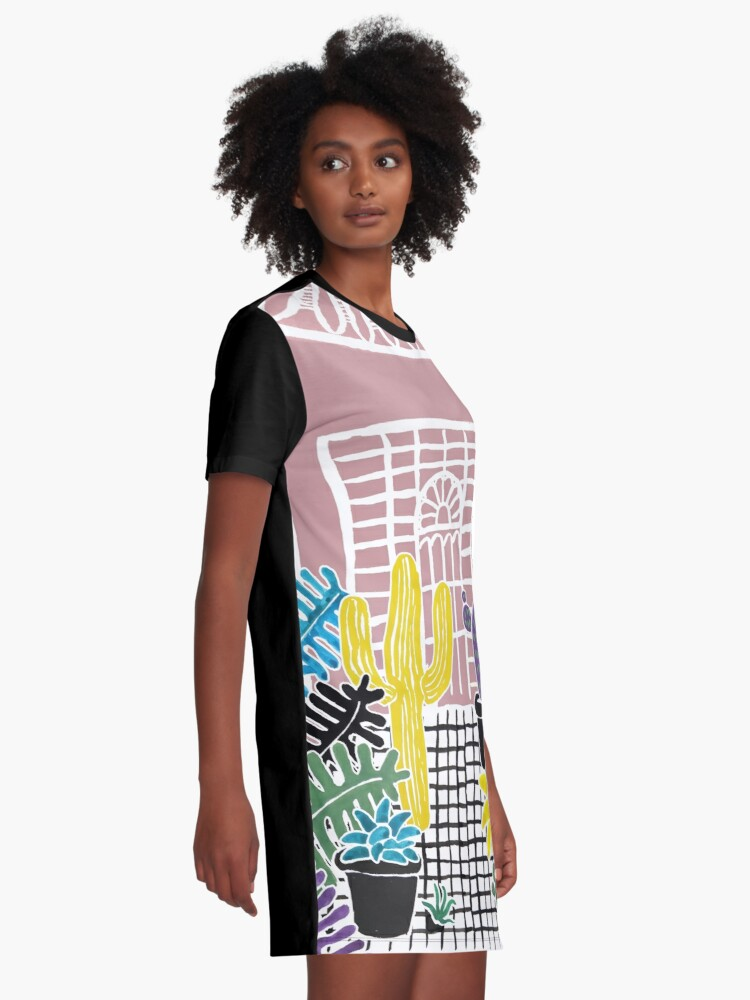 Alternate view of Cacti & Succulent Greenhouse Graphic T-Shirt Dress