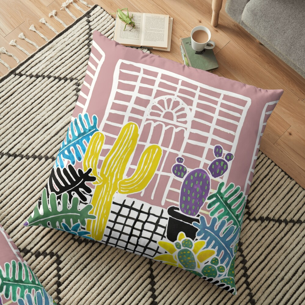 Cacti & Succulent Greenhouse Floor Pillow