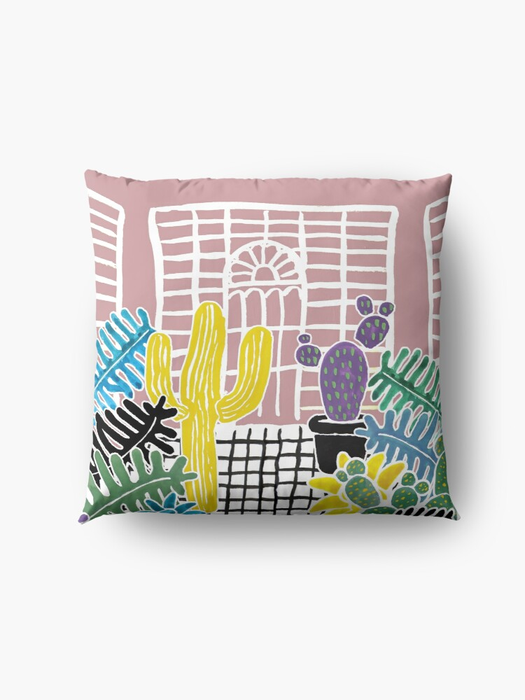 Alternate view of Cacti & Succulent Greenhouse Floor Pillow