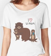 I Love You Mom. Funny brown kids otters with fish on white background. Gift card for Mothers Day. Women's Relaxed Fit T-Shirt