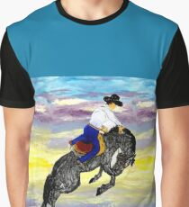 Cowboy and Horse Riding High Graphic T-Shirt