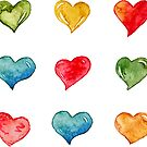 Watercolor Hearts  by Takoo chy