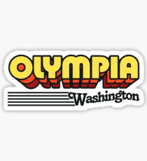 Olympia, Washington | Retro Streifen Sticker