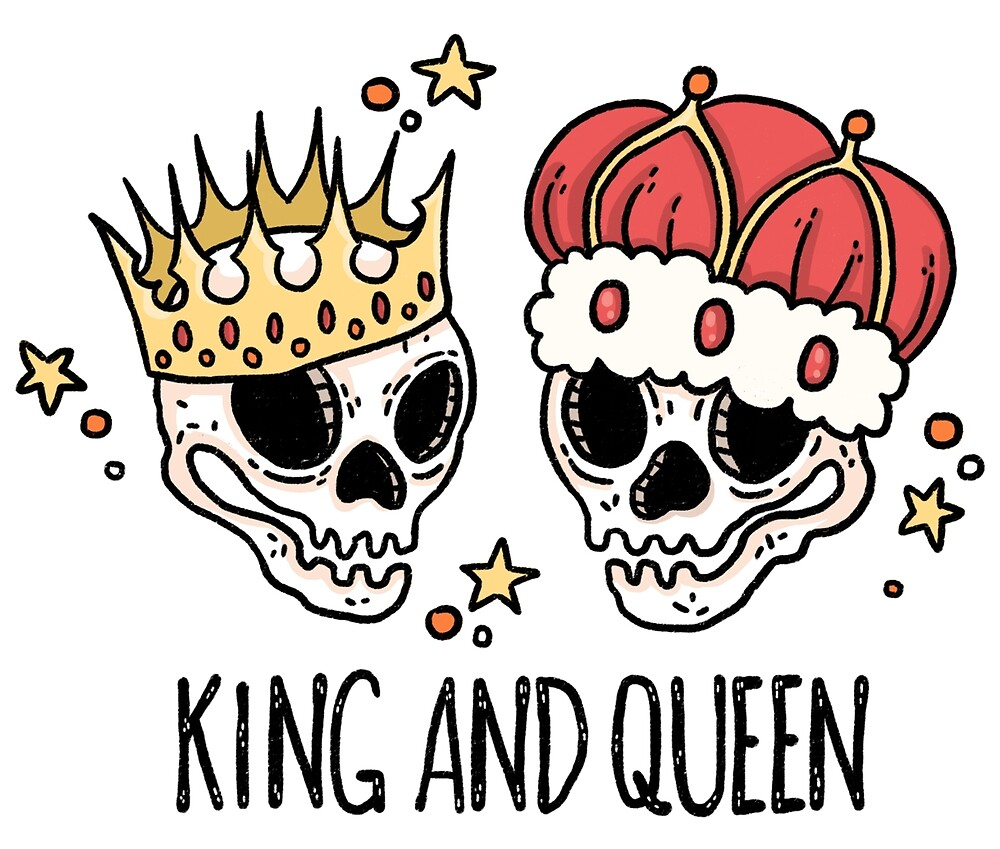 king and queen skull by erika pugsley redbubble