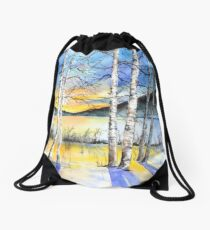 For love of Winter #5 Drawstring Bag