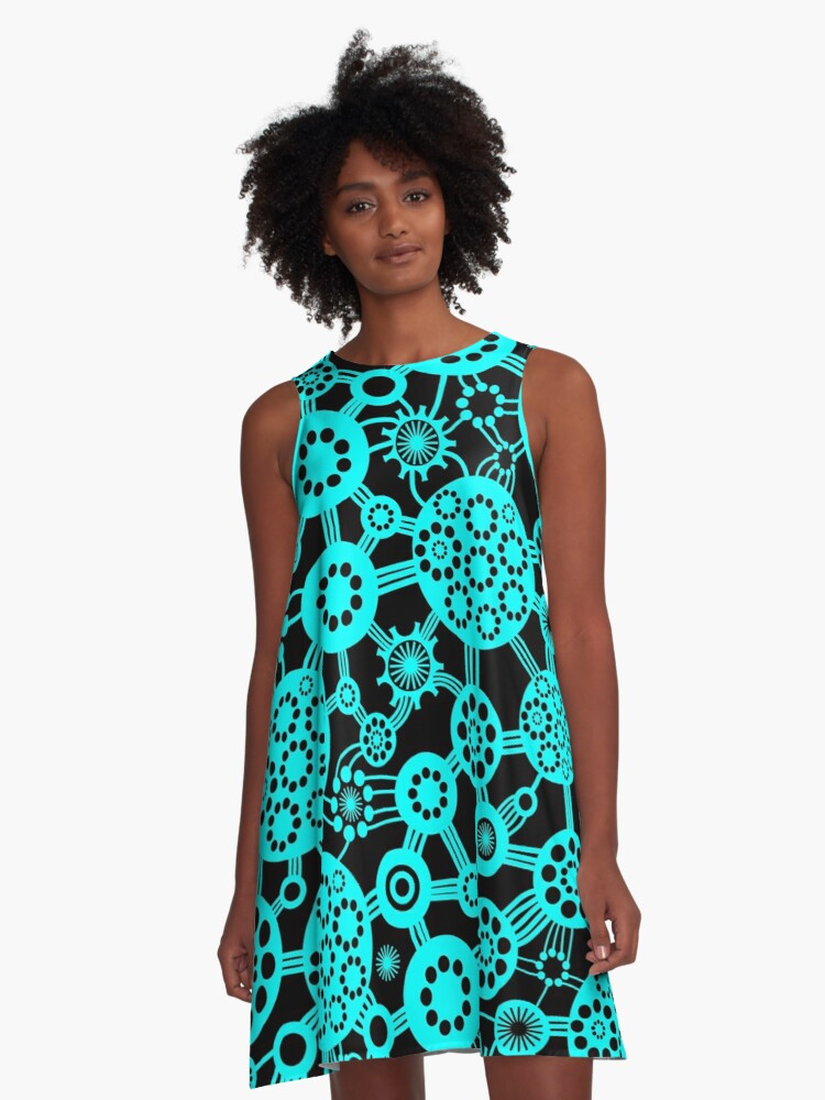 Ecosystem - Cyan and Black A-Line Dress Front