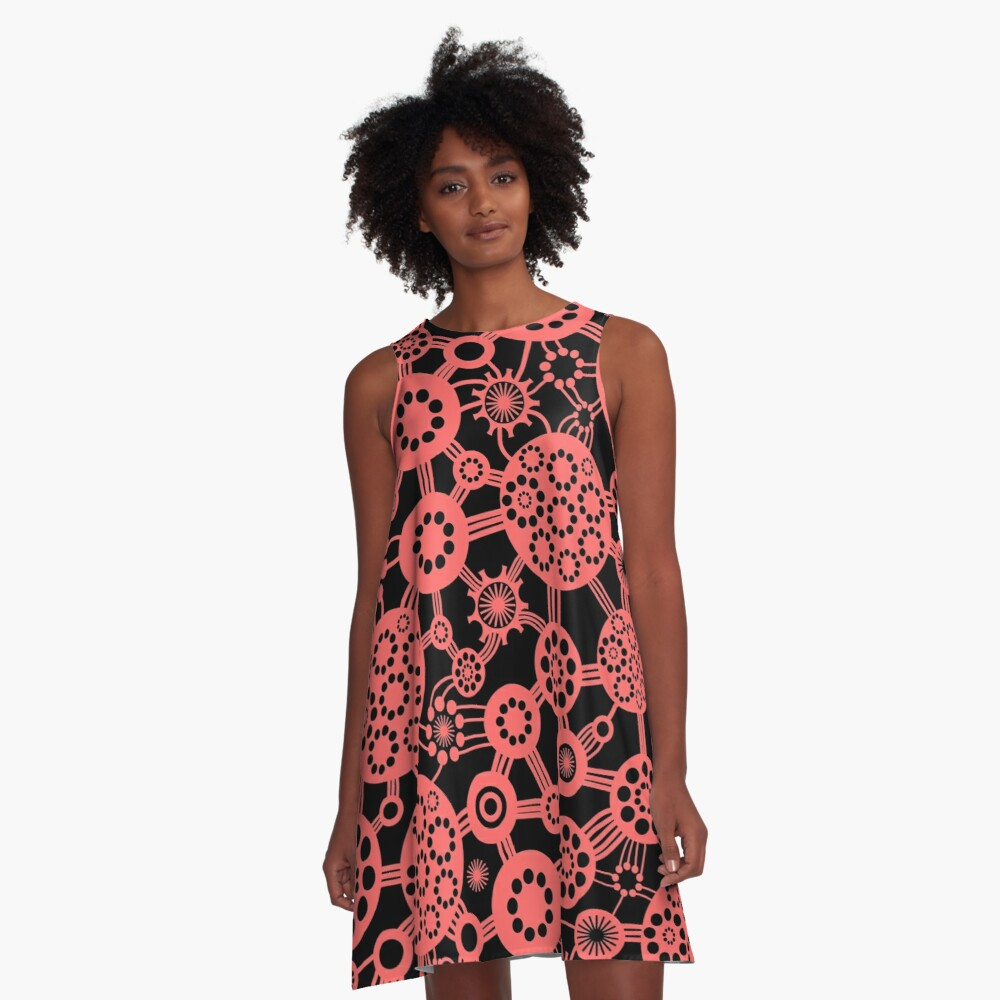 Ecosystem - Tropical Pink on Black A-Line Dress Front