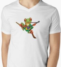 Tree Frog Playing Brazilian Flag Guitar Men's V-Neck T-Shirt