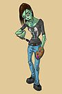 Zombie Girl Artist Painter with a Palette MONSTER GIRLS Series I by angelasasser