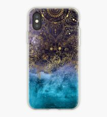 Gold floral mandala and confetti image iPhone Case