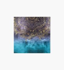 Gold floral mandala and confetti image Art Board Print