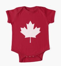 MAPLE LEAF, CANADA, CANADIAN, WHITE, Pure & Simple, Canadian Flag, National Flag of Canada, 'A Mari Usque Ad Mare', White on Red One Piece - Short Sleeve