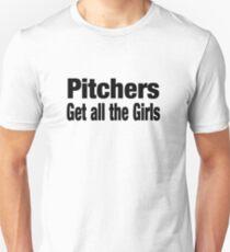 Pitchers Get All The Girls - Funny Baseball T Shirt Slim Fit T-Shirt