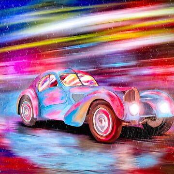 Vintage Bugatti Art - Classic Bugatti Type 57SC Atlantic In the Rain by marksda1