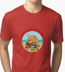 Stop Coastial Pollution Ecology Emblem Tri-blend T-Shirt