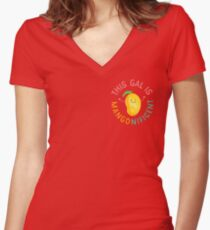 Punny Garden - This Gal is Mangonificent Women's Fitted V-Neck T-Shirt