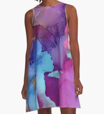 Alcohol Ink Flower A-Line Dress