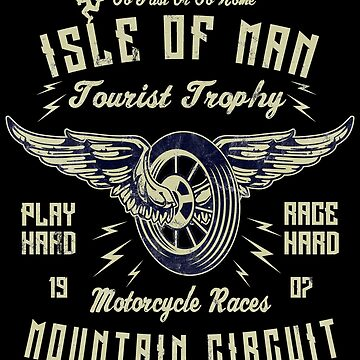 Isle Of Man TT Racing Vintage Biker Wings Wheel by thespottydogg