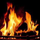 Fire in a fireplace by Maria Meester